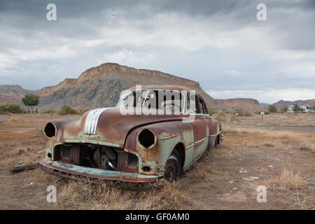 1949 Pontiac Chieftain Silver Streak in the desert near Thompson Utah - Stock Photo