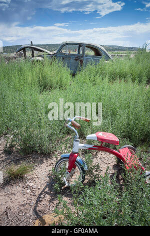 An abandoned child's bike in front of a wrecked VW Beetle - Stock Photo