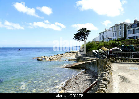 Seaview, Isle of Wight, UK. June 24, 2016.  A coastal view from Seaview promenade with Bembridge lifeboat station - Stock Photo