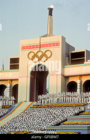 Musical performances during opening ceremonies at 1984 Olympic Games in Los Angeles. - Stock Photo