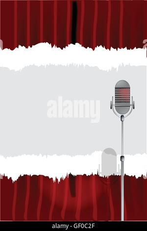 A microphone ready on stage against a red curtain with a tear copy space - Stock Photo