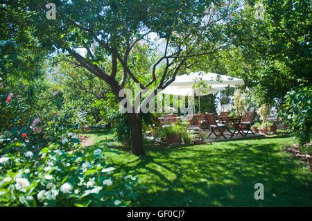 Wooden sitting place green garden in the small hotel ,bodrum turkey ...