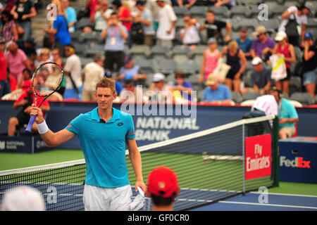 The South African tennis player Kevin Anderson at the 2016 Rogers Cup held in the Toronto Aviva Centre in Canada. - Stock Photo