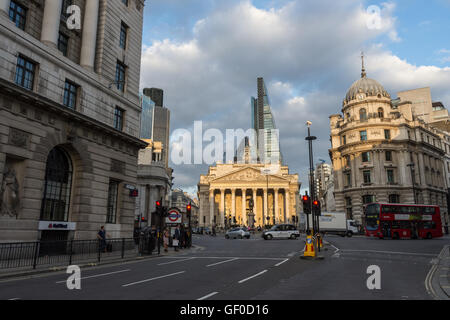 The Royal Exchange London England with surrounding streets - Stock Photo
