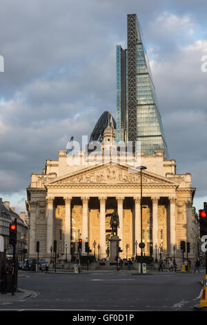 The Royal Exchange London England view from Mansion House Street - Stock Photo