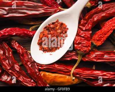 Dried chilies with chili flakes on a spoon - Stock Photo