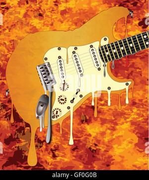A traditional rock guitar melting down in a background of flames - Stock Photo