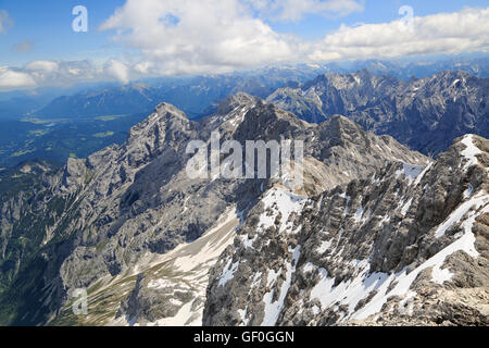 Alps mountains view from the top of Zugspitze, Germany. The Zugspitze, at 2,962 m above sea level. - Stock Photo