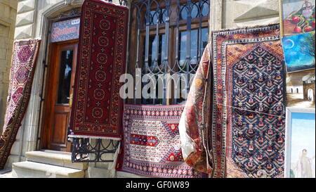 Carpets in Old City, Baku, Azerbaijan - Stock Photo