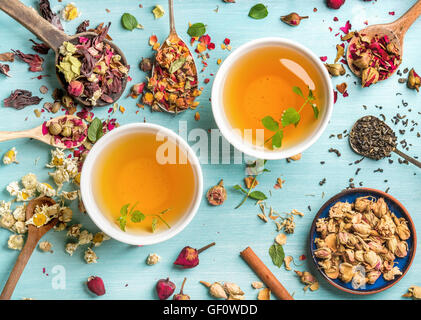 Two cups of healthy herbal tea with mint, cinnamon, dried rose and camomile flowers in spoons over blue background - Stock Photo