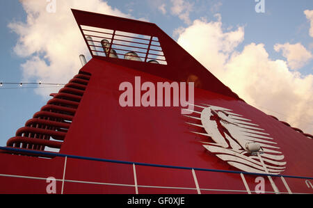 View of funnel and signage logo Minoan Lines Ferry Ship Cruise Olympia during journey from Ancona, Italy to Igoumenitsa, - Stock Photo