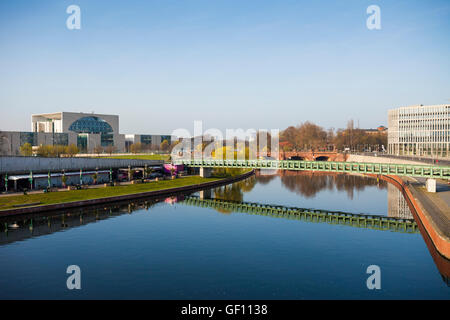 Spreebogenpark and government buildings, Berlin, German - Stock Photo