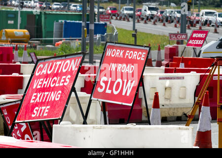 Chapter 8 Traffic Highway Maintenance, Management systems, roadworks, caution warning signs, work force in road, - Stock Photo