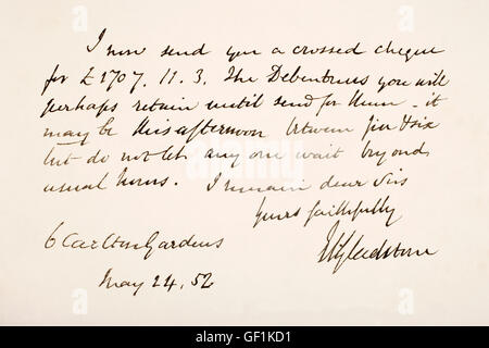 William Ewart Gladstone, 1809 – 1898.  British Liberal statesman and Prime Minister.  Hand writing sample. - Stock Photo