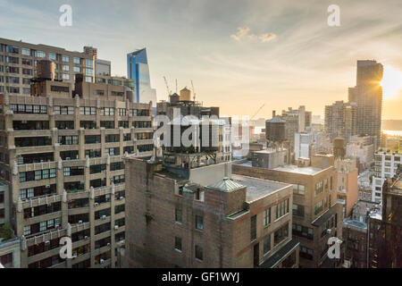 Development is seen, including 10 Hudson Yards, left, on the west side of Midtown Manhattan in New York on Thursday, - Stock Photo