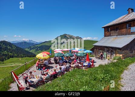 Restaurant terrace at Col des Annes. Le Grand Bornand, Haute-Savoie, France. - Stock Photo