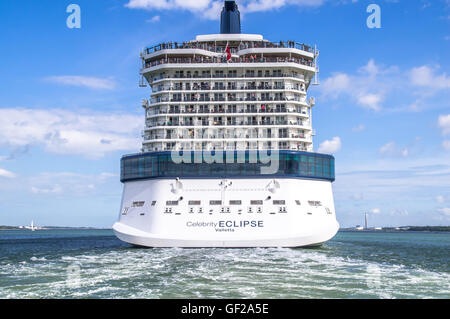 Celebrity Eclipse departing Southampton on a cruise for Europe - Stock Photo