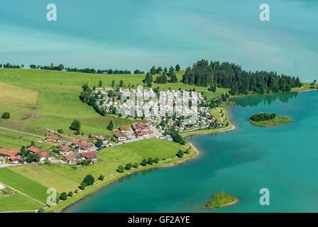 Campsite on peninsula at lake Forggensee, near Füssen, Fuessen, Allgäu, Allgaeu, Bavaria, Germany - Stock Photo
