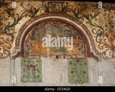 Ancient artwork at E'them Bey mosque in Albanian capital Tirana in the Balkans - Stock Photo