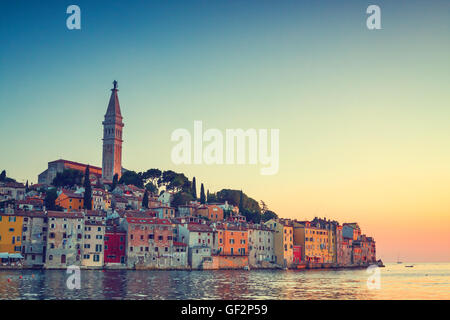 view on old town in Rovinj, Istria, Croatia. Vintage look - Stock Photo