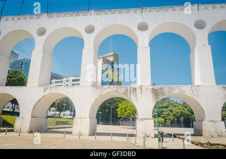 RIO DE JANEIRO, BRAZIL - MARCH 06, 2016:  Outdoor Panel Paint Olympic Games 2016 Landmark white arches of Arcos - Stock Photo