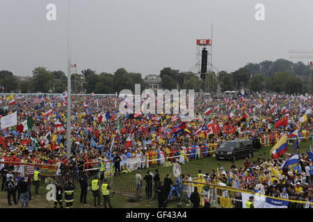 Krakow, Poland. 28th July 2016. Hundreds of Thousands pilgrims from all over the world have come to  Blonia Park - Stock Photo