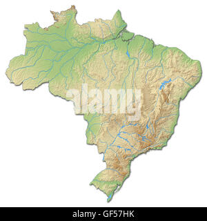 Relief map of Brazil with shaded relief. - Stock Photo