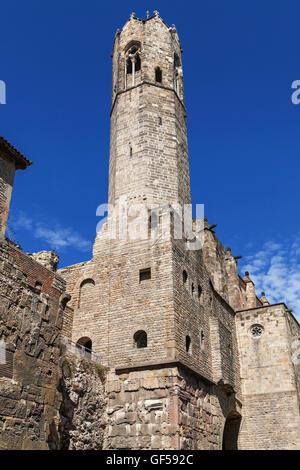 Tower of the Santa Agata Chapel in Barcelona, Catalonia, Spain. - Stock Photo