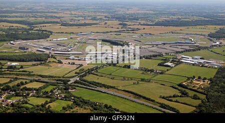 aerial view of Silverstone Formula 1 Racing Circuit in Northamptonshire, UK - Stock Photo