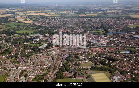 aerial view of Lichfield in Staffordshire, UK - Stock Photo
