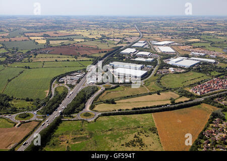 aerial view of Junction 15A of the M1motorway at Northampton, with Roadchef Service Area & Swan Valley Way industrial - Stock Photo
