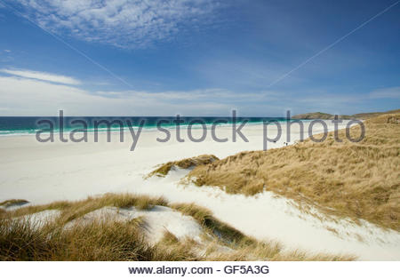 The pristine white sands of Traigh Eais beach on the Isle of Barra, Outer Hebrides, Scotland. - Stock Photo