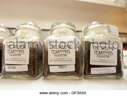 Jars of  different types of tea leaves in the Willow Tearoom designed by celebrated Glasgow architect, Charles Rennie - Stock Photo