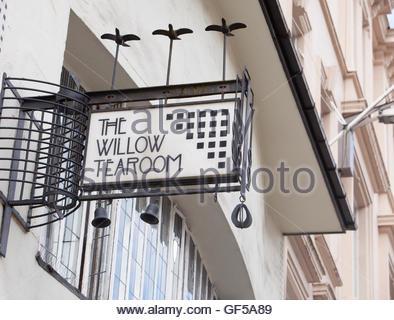 Willow Tearoom designed by celebrated Glasgow architect, Charles Rennie Mackintosh, Glasgow Scotland - Stock Photo