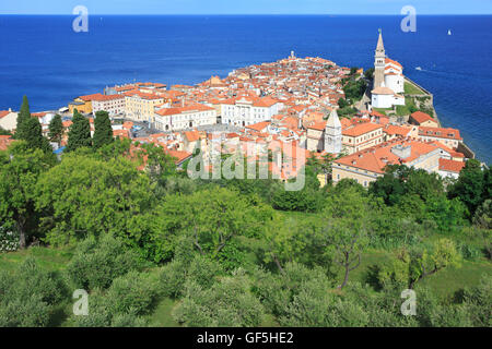 Panoramic view of the old town of Piran, Slovenia - Stock Photo