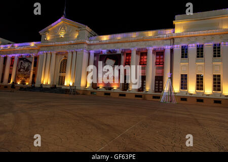 Managua, Nicaragua - December 22, 2015: National Palace View at night with christmas lights - Stock Photo