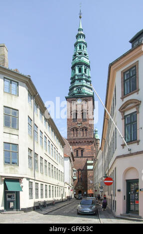 city view with Saint Nicholas church in Copenhagen, the capital city of Denmark - Stock Photo