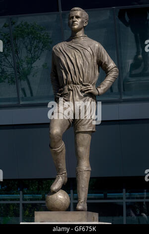 Albert Florian statue outside the stadium that used to bear his name, now called Groupama Arena - Stock Photo