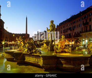 Piazza Navona at dusk, Rome, Lazio, Italy - Stock Photo