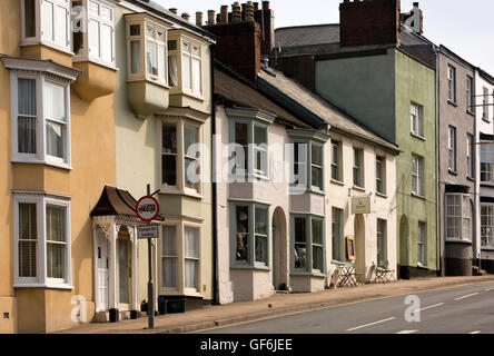 UK, England, Devon, Honiton, High Street, houses, shop and cafe outside town centre - Stock Photo