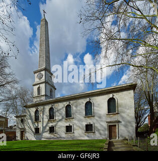 St Luke Old Street, south front and obelisk steeple. Probably the joint design of John James and Nicholas Hawksmoor, - Stock Photo