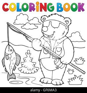 Coloring Book Bear Fisherman Theme 1