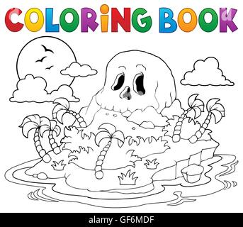 Coloring book pirate skull island - picture illustration. - Stock Photo