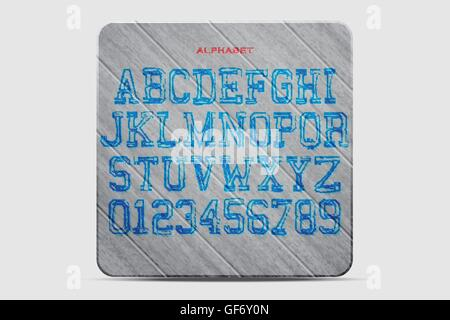 set of hand drawn alphabet letters and numbers over wood texture. vector font type template. outline lettering icons. - Stock Photo