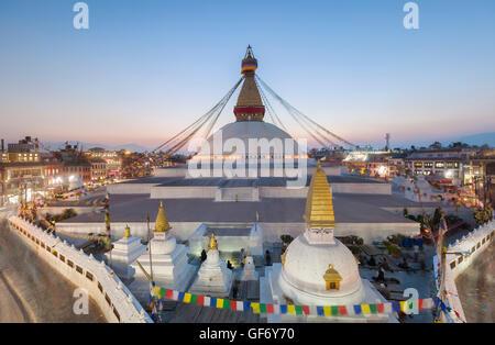 Sunset at Boudhanath stupa, Kathmandu, Nepal - Stock Photo