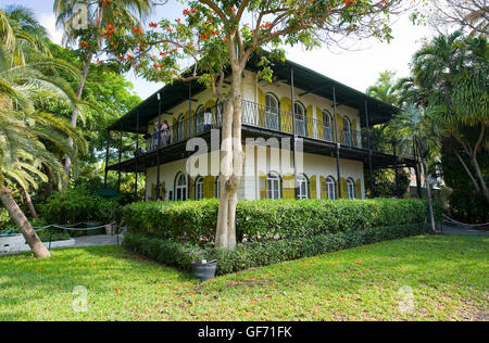 KEY WEST, FLORIDA, USA - MAY 03, 2016: The Ernest Hemingway House with garden in Key West in Florida. - Stock Photo