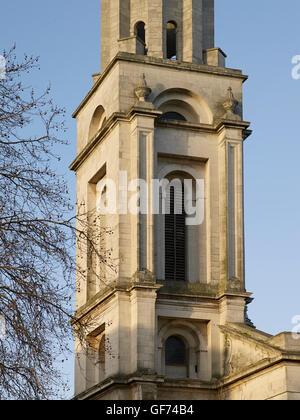 St George in-the-East, Stepney. Tower detail; built by Nicholas Hawksmoor 1714 - 1729 - Stock Photo