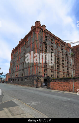 Tobacco Warehouse under development in to apartments, Stanley Dock, Liverpool, Merseyside, England, UK. - Stock Photo