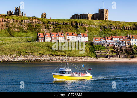 st mary's church and whitby abbey with riverside buildings