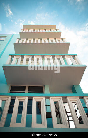 Example of typical retro Art Deco style architecture seen in South Beach, Miami - Stock Photo